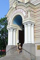 Eingang der orthodoxen Kathedrale in Riga, Lettland, Europa, Unesco-Weltkulturerbe