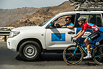 Race leader Alexey Lutsenko (KAZ) Astana Pro Team talks to the team car during Stage 4 of 10th Tour of Oman 2019, running 131km from Yiti (Al Sifah) to Oman Convention and Exhibition Centre, Oman. 19th February 2019.<br /> Picture: ASO/K&aring;re Dehlie Thorstad | Cyclefile<br /> All photos usage must carry mandatory copyright credit (&copy; Cyclefile | ASO/K&aring;re Dehlie Thorstad)