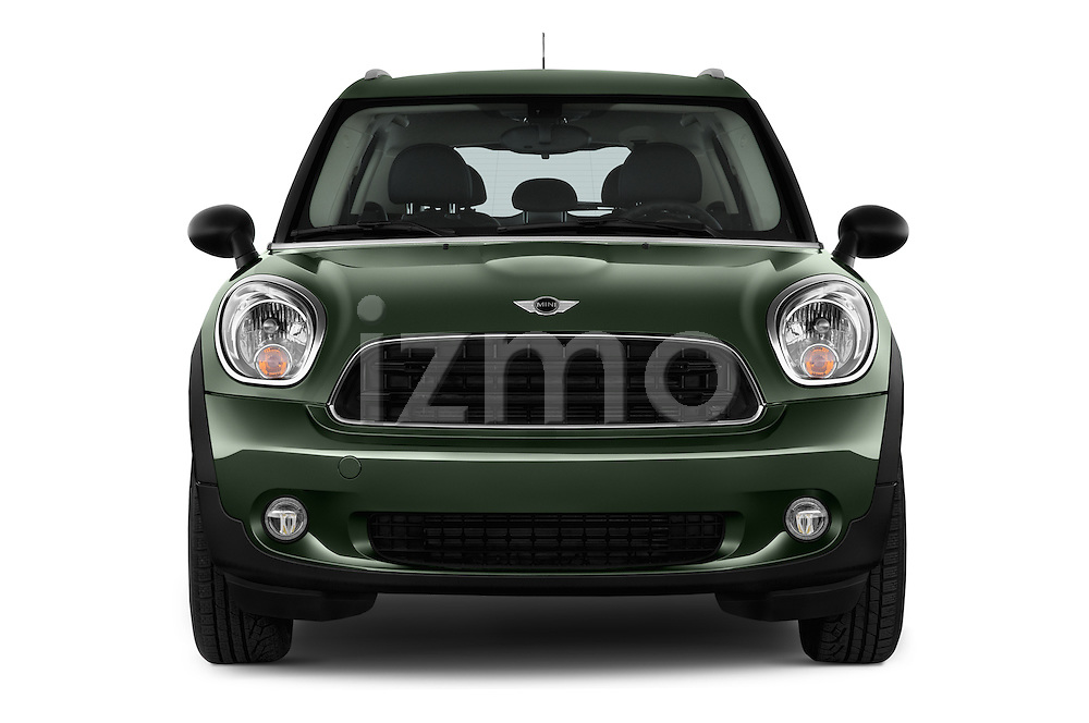 Car photography straight front view of a 2016 MINI Countryman One 5 Door Hatchback Front View