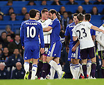 Tempers flare between Chelsea's Branislav Ivanovic and Everton's James McCarthy<br /> <br /> Barclays Premier League- Chelsea vs Everton  - Stamford Bridge - England - 11th February 2015 - Picture David Klein/Sportimage