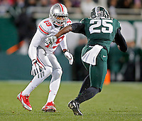 Ohio State Buckeyes cornerback Gareon Conley (19) against Michigan State Spartans at Spartan Stadium in East Lansing, Michigan on November 8, 2014.  (Dispatch photo by Kyle Robertson)