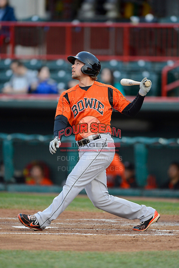 Bowie Baysox designated hitter Brandon Waring #20 during a game against the Erie Seawolves on April 23, 2013 at Jerry Uht Park in Erie, Pennsylvania.  Erie defeated Bowie 4-1.  (Mike Janes/Four Seam Images)