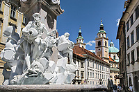 The Fountain of Three Camiolan Rivers, also known as The Robba Fountain, is one of the best known monuments of Baroque Ljubljana, Slovenia.  Created by Venetian-born sculptor and architect Francesco Robba.