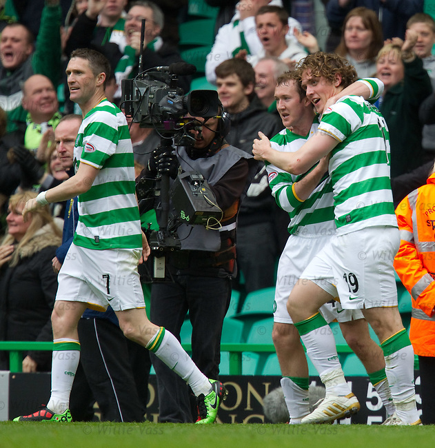 Morten Rasmussen takes the plaudits after scoring for Celtic to win the match