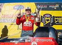 Feb 11, 2019; Pomona, CA, USA; NHRA top fuel driver Doug Kalitta celebrates after winning the Winternationals at Auto Club Raceway at Pomona. Mandatory Credit: Mark J. Rebilas-USA TODAY Sports