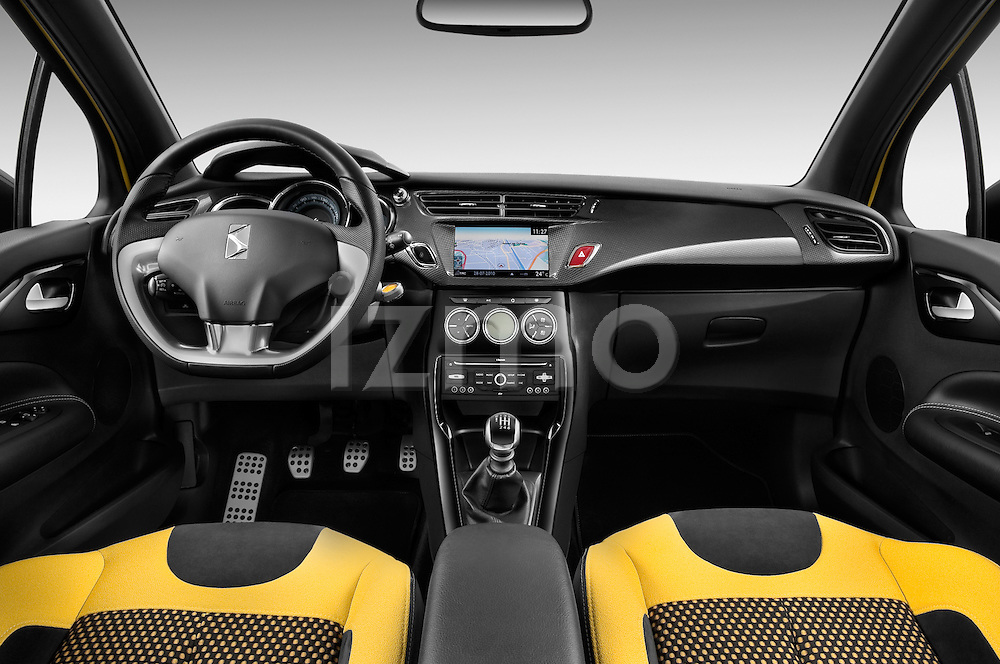 Straight dashboard view of a 2013 Citroen DS3 Sport Chic 3 Door Hatchback 2WD