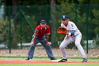 03 october 2009: Nicolas Dubaut of Rouen is seen on defense at first base during game 1 of the 2009 French Elite Finals won 6-5 by Rouen over Savigny in the 11th inning, at Stade Pierre Rolland stadium in Rouen, France.