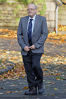 Pictured: Geoffrey Bran arrives at Swansea Crown Court. Monday 11 November 2019<br /> Re: Geoffrey Bran, 71, is due to stand trial at Swansea Crown Court, after the death of his wife Mavis, 69 who suffered severe burns at the Chipoteria chip shop in Carmarthenshire, west Wales, UK