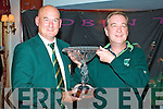 Captain's Prize:  Captain of Waterville Golf Club Aidan MacAuliffe presenting John Fleming with the coveted Captains Prize on Sunday last.  John who is playing of 15 had a score of 36 points to win, piping John O'Neill, 2nd also with 36 points on the count back.  Conditions on the day were very tough not only was the course set up for a 'Captain's Prize', but the elements were against most of the competitors from the outset, a total of 104 played.  It was a wonderful evening for Captain Aidan to see all three of his usual Sunday four ball come into the prizes.