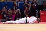 Engeland, London, 2 Augustus 2012.Olympische Spelen London.Marhinde Verkerk baalt na in de tweederonde te hebben verloren van de Britse Gemma Gibbons
