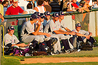 The USA Baseball Collegiate National Team bullpen watches the game against the Gastonia Grizzlies at Sims Legion Park on June 30, 2011 in Gastonia, North Carolina.  Team USA defeated the Grizzlies 12-5.  Brian Westerholt / Four Seam Images