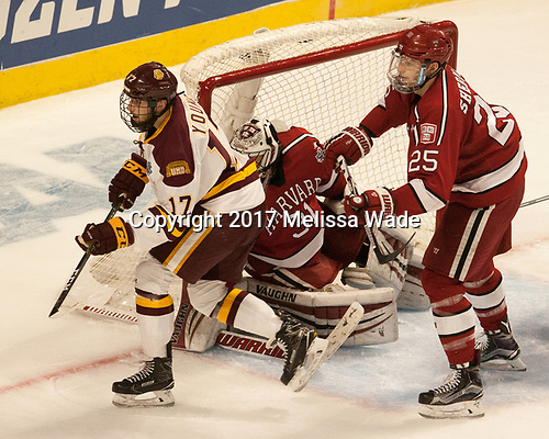 Blake Young (UMD - 17), Merrick Madsen (Harvard - 31), Wiley Sherman (Harvard - 25) - The University of Minnesota Duluth Bulldogs defeated the Harvard University Crimson 2-1 in their Frozen Four semi-final on April 6, 2017, at the United Center in Chicago, Illinois.