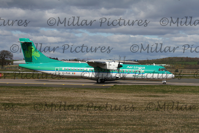 An Aer Lingus Regional operated by Stobart Air ATR 72-600 Registration EI-FAX named Finnian at Glasgow Airport on 23.4.16 going to Dublin Airport.