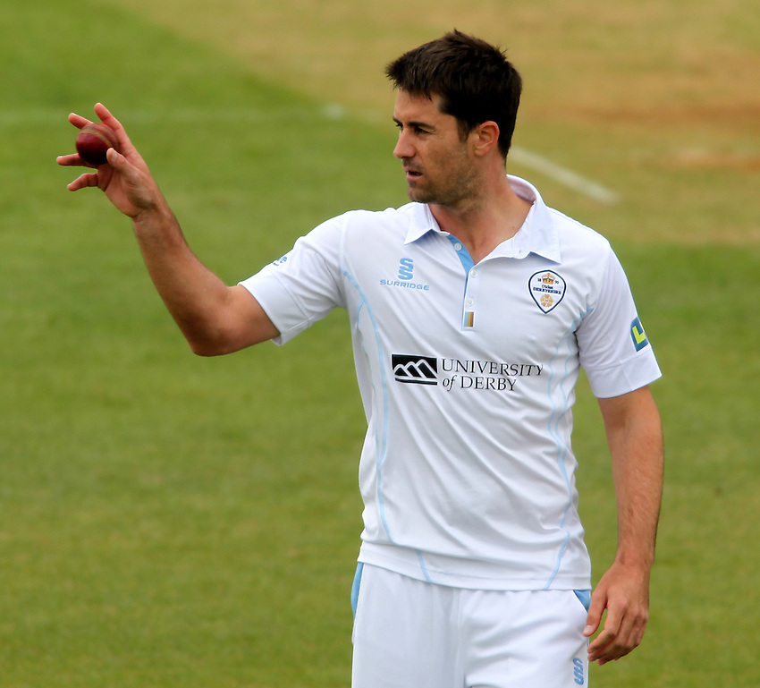 Derbyshire's Tim Groenewald <br /><br /> - (Photo by Mick Walker/CameraSport) - <br /><br />County Cricket - LV=  County Championship - Division One - Derbyshire v Nottinghamshire - Day 2 Thursday 25th April 2013 - The County Ground - Derby<br /><br />&copy; CameraSport - 43 Linden Ave. Countesthorpe. Leicester. England. LE8 5PG - Tel: +44 (0) 116 277 4147 - admin@camerasport.com - www.camerasport.com