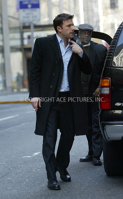 Ben Affleck sighting in New York. March 10, 2004. Please byline: ACE Pictures.   ..*PAY-PER-USE*      ....IMPORTANT: Please note that our old trade name, NEW YORK PHOTO PRESS (NYPP), is replaced by our new name, ACE PICTURES. New York Photo Press and ACE Pictures are owned by All Celebrity Entertainment, Inc.......All Celebrity Entertainment, Inc:  ..contact: Alecsey Boldeskul (646) 267-6913 ..Philip Vaughan (646) 769-0430..e-mail: info@nyphotopress.com