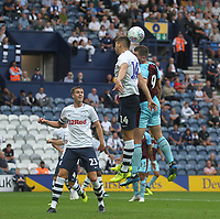 Burnley's Sam Vokes jumps with  Preston North End's Jordan Storey<br /> <br /> Photographer Mick Walker/CameraSport<br /> <br /> Football Pre-Season Friendly - Preston North End  v Burnley FC  - Monday 23st July 2018 - Deepdale  - Preston<br /> <br /> World Copyright &copy; 2018 CameraSport. All rights reserved. 43 Linden Ave. Countesthorpe. Leicester. England. LE8 5PG - Tel: +44 (0) 116 277 4147 - admin@camerasport.com - www.camerasport.com
