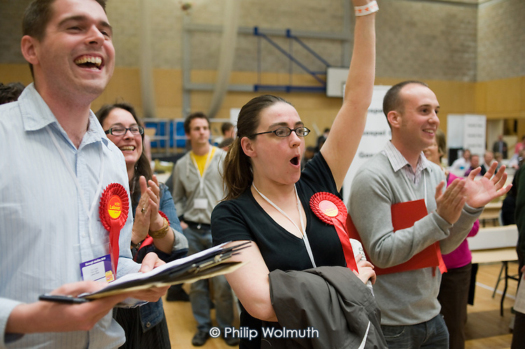 Party supporters cheer as Labour gain a ward from the Liberal Democrats in the Camden Council local elections 2010, in which Labour defeated the ruling Lib-Dem Conservative coalition.