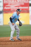 Hickory Crawdads shortstop Dylan Moore (6) on defense against the Kannapolis Intimidators at Kannapolis Intimidators Stadium on April 10, 2016 in Kannapolis, North Carolina.  The Intimidators defeated the Crawdads 10-3.  (Brian Westerholt/Four Seam Images)