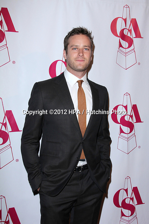 LOS ANGELES - OCT 29:  Armie Hammer arrives at the Casting Society of America Artios Awards at Beverly Hilton Hotel on October 29, 2012 in Beverly Hills, CA