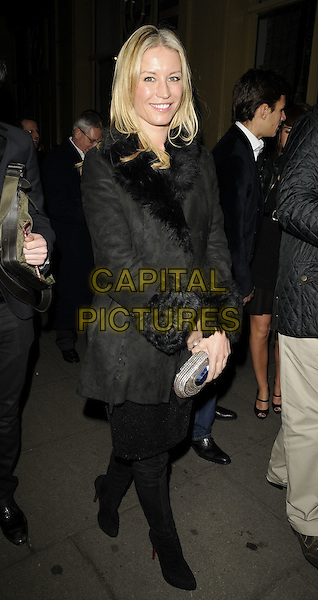 "DENISE VAN OUTEN.The ""Oliver!"" press night afterparty, Waldorf Hilton Hotel, Aldwych, London, England..January 14th, 2009.full length black jacket coat skirt boots fur trim suede silver clutch bag .CAP/CAN.©Can Nguyen/Capital Pictures."