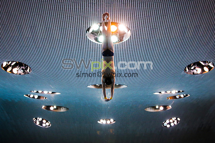 Picture by Alex Whitehead/SWpix.com - 12/05/2016 - Diving - 2016 LEN European Aquatics Championships - London Aquatics Centre, London, England - A diver in action during a practice session.
