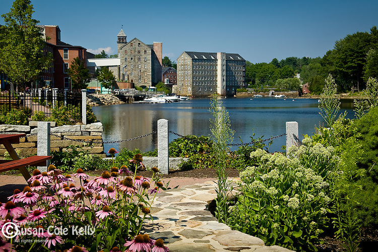 Restored riverfront on the Lamprey River at Newmarket, Seacoast Region, NH, USA