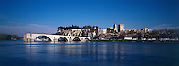 """The famous """"Pont d'Avignon"""" and the Pope's Palace at the Rhône river."""