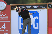 Miguel Angel Jimenez (ESP) tees off the 14th tee during Thursday's Round 1 of the 2017 Omega European Masters held at Golf Club Crans-Sur-Sierre, Crans Montana, Switzerland. 7th September 2017.<br /> Picture: Eoin Clarke | Golffile<br /> <br /> <br /> All photos usage must carry mandatory copyright credit (&copy; Golffile | Eoin Clarke)