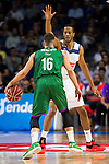 Real Madrid's player Anthony Randolph and Unicaja Malaga's player Nemanja Nedovic during match of Liga Endesa at Barclaycard Center in Madrid. September 30, Spain. 2016. (ALTERPHOTOS/BorjaB.Hojas)