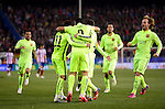 Barcelona's Brazilian forward Neymar da Silva celebrates after scoring during the Spanish Copa del Rey (King's Cup) quarter final second leg football match  Atletico de Madrid vs FC Barcelona at the Vicente Calderon stadium in Madrid on January 28, 2015. DP by Photocall3000.