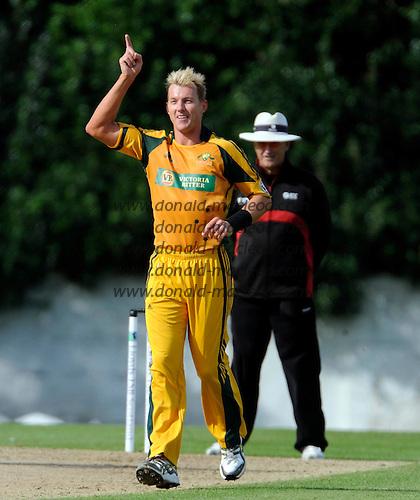 Scotland V Australia ODI at Grange CC, Edinburgh - Australian bowler Brett Lee celebrates a wicket, against Scotland - Picture by Donald MacLeod 28.08.09