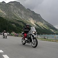 Motociclisti sulle sponde del lago di Silvaplana..Bikers on Silvaplana lake bank