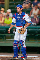 Catcher Chad Noble #15 of the Daytona Beach Cubs during the game against the Brevard County Manatees at Jackie Robinson Ballpark on April 9, 2011 in Daytona Beach, Florida. Photo by Scott Jontes / Four Seam Images