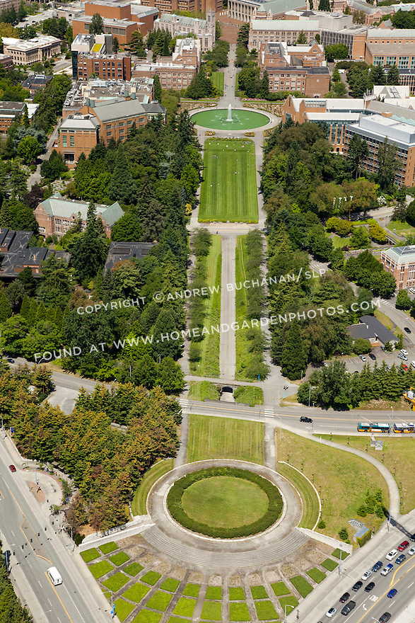 University of Washington looking up Rainier Vista toward Drumheller Fountain and Red Square; Seattle, WA