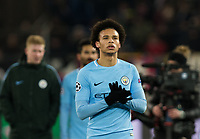 Manchester City's Leroy Sane applauds the fans at the final whistle <br /> <br /> Photographer Craig Mercer/CameraSport<br /> <br /> UEFA Champions League Round of 16 First Leg - Basel v Manchester City - Tuesday 13th February 2018 - St Jakob-Park - Basel<br />  <br /> World Copyright &copy; 2018 CameraSport. All rights reserved. 43 Linden Ave. Countesthorpe. Leicester. England. LE8 5PG - Tel: +44 (0) 116 277 4147 - admin@camerasport.com - www.camerasport.com
