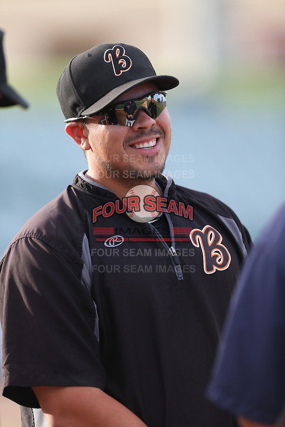 Bakersfield Blaze Manager Eddie Manchaca (12) before a game against the Lancaster JetHawks at The Hanger on August 5, 2015 in Lancaster, California. Bakersfield defeated Lancaster, 12-5. (Larry Goren/Four Seam Images)