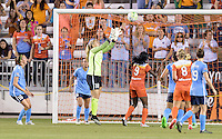 Houston, TX - Friday April 29, 2016: Caroline Stanley (18) of Sky Blue FC grabs the ball from a corner kick against the Houston Dash at BBVA Compass Stadium. The Houston Dash tied Sky Blue FC 0-0.