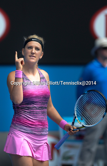 Victoria Azarenka (BLR) defeats Sloane Stephens (USA) 6-3, 6-2 at the Australian Open in Melbourne, Australia on January 20, 2014