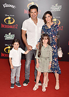 HOLLYWOOD, CA - JUNE 05: Mario Lopez, Courtney Laine Mazza and their children attend the premiere of Disney and Pixar's 'Incredibles 2' at the El Capitan Theatre on June 5, 2018 in Los Angeles, California.<br /> CAP/ROT/TM<br /> &copy;TM/ROT/Capital Pictures
