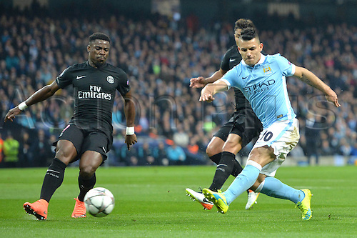 12.04.2016. manchester, England. UEFA Champions league, quarterfinals, second leg. Manchester City versus Paris St Germain.  SERGE AURIER (psg) cannot stop the shot coming in from SERGIO AGUERO (man)