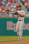 19 May 2012: Baltimore Orioles infielder Robert Andino in action against the Washington Nationals at Nationals Park in Washington, DC. The Orioles defeated the Nationals 6-5 in the second game of their 3-game series. Mandatory Credit: Ed Wolfstein Photo