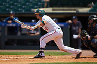 Joe Gomez (40) of the Miami Hurricanes squares to bunt against the Georgia Tech Yellow Jackets during game one of the 2017 ACC Baseball Championship at Louisville Slugger Field on May 23, 2017 in Louisville, Kentucky. The Hurricanes walked-off the Yellow Jackets 6-5 in 13 innings. (Brian Westerholt/Four Seam Images)