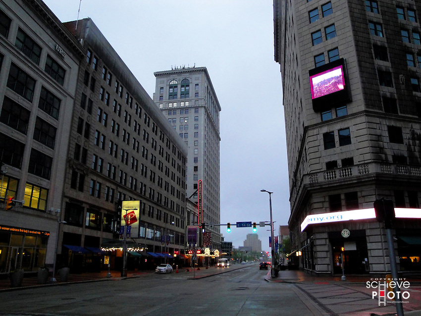 The old buildings in Cleveland's theater district.