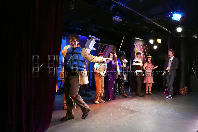 Seth Rudetsky, Jack Plotnick and cast during the Off-Broadway Opening Night Performance Curtain Call for 'Disaster!' at the St. Luke's Theatre on November 4, 2013  in New York City.