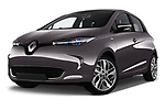 Stock pictures of low aggressive front three quarter view of a 2017 Renault ZOE Bose Edition 5 Door Hatchback
