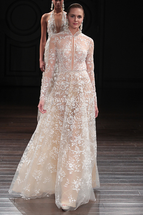 Model walks runway in a Palace bridal gown from the Naeem Khan Bridal Spring 2017 collection at 260 West 36 Street, during New York Bridal Fashion Week Spring Summer 2017 on April 16, 2016.