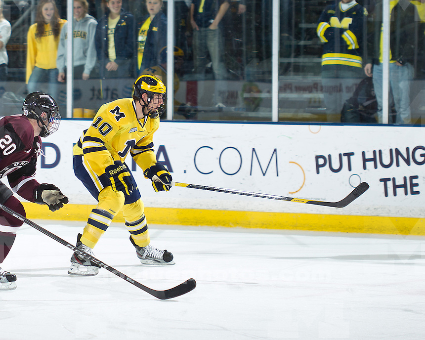 The No. 11-ranked University of Michigan ice hockey team fell to No. 12-ranked Union College, 6-3, at Yost Ice Arena in Ann Arbor, Mich., on November 27, 2011.
