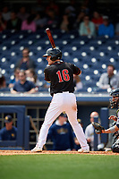 Nashville Sounds right fielder Mark Canha (16) at bat during a game against the New Orleans Baby Cakes on May 1, 2017 at First Tennessee Park in Nashville, Tennessee.  Nashville defeated New Orleans 6-4.  (Mike Janes/Four Seam Images)