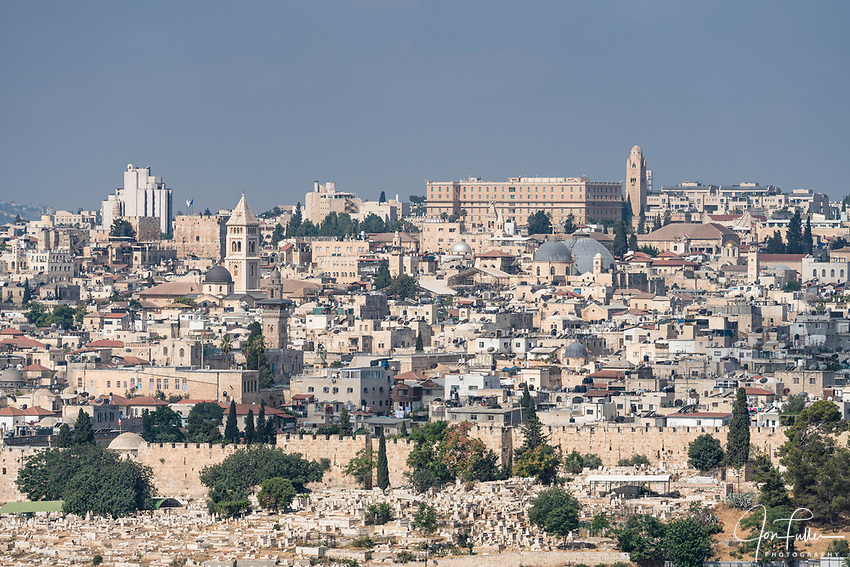 The Muslim and Christian Quarters of the Old City of Jersualem as seen from the Mount of Olives.   The Old City of Jerusalem and its Walls is a UNESCO World Heritage Site.