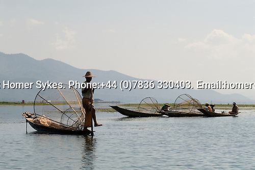 Inle Lake. Myanmar (Burma.) 2006. Traditional fisherman.